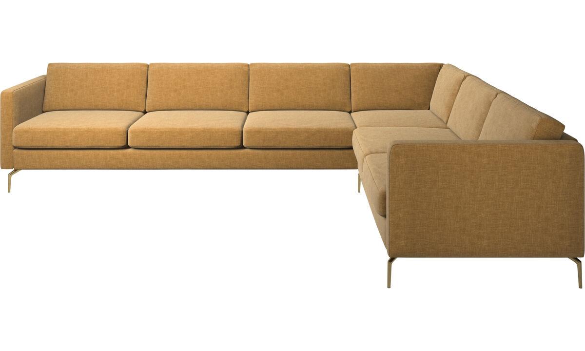 Sofás esquineros - sofá esquinero Osaka, asiento regular - En beige - Tela