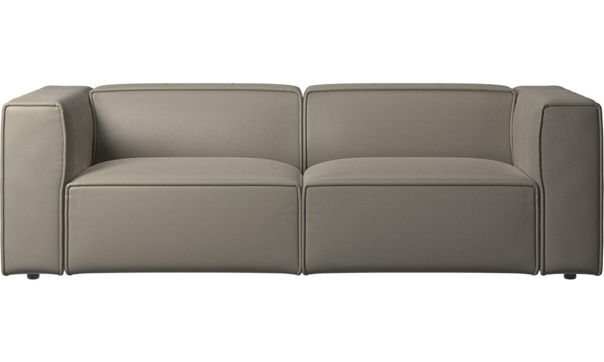 Sofás reclinables - Sofá Carmo con movimiento - En gris - Piel