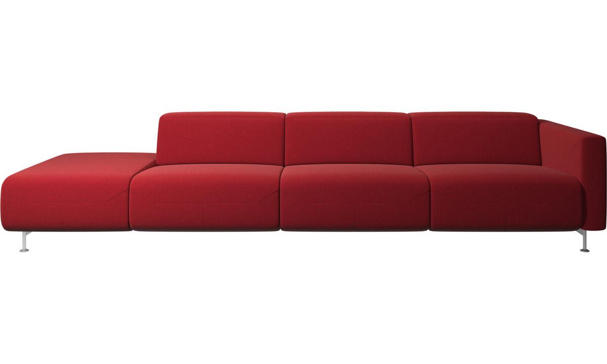 Sofás com canto aberto - Parma, sofá reclinável com a extremidade aberta - Vermelho - Tecido
