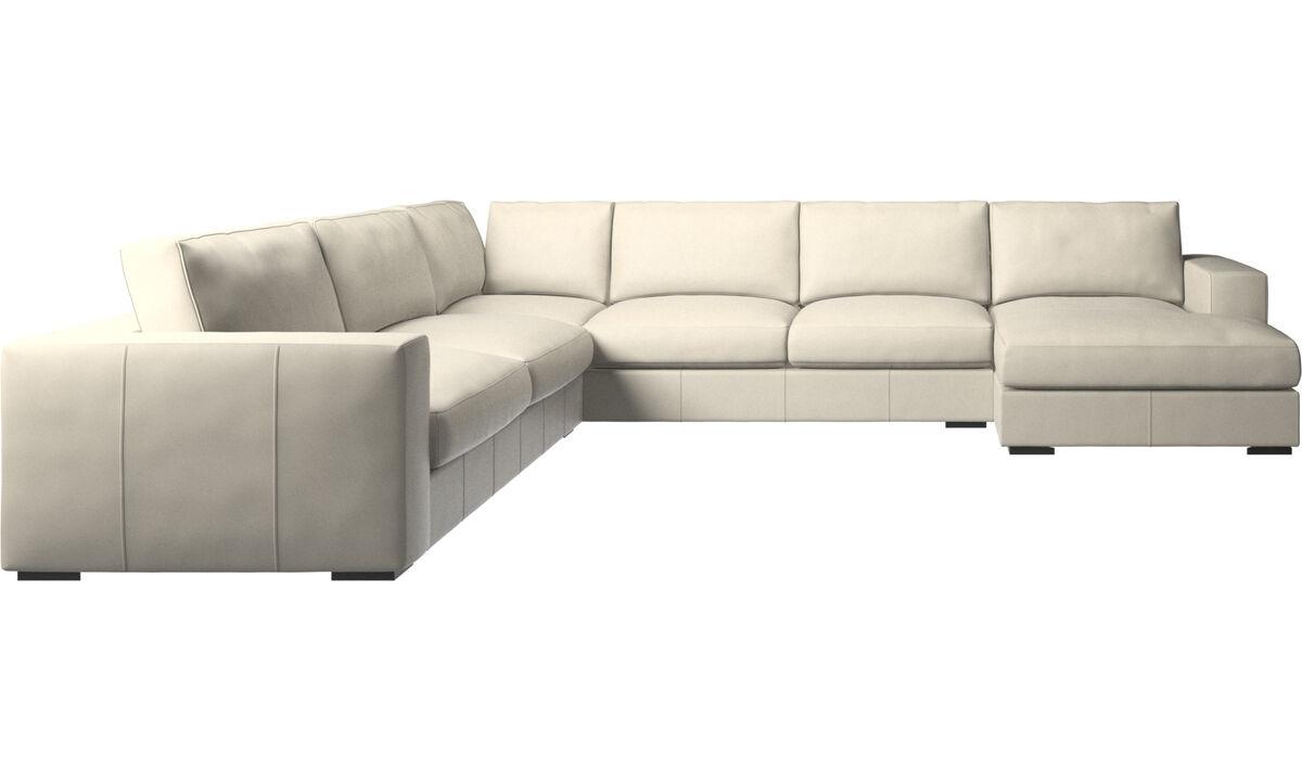 Chaise longue sofas - Cenova divano ad angolo con penisola relax - Bianco - Pelle
