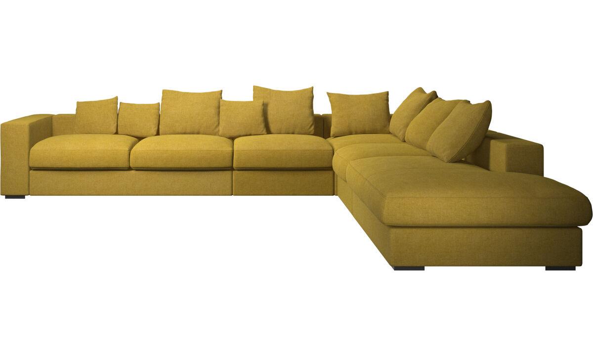 Sofás esquineros - Sofá esquinero Cenova con módulo de descanso - En amarillo - Tela