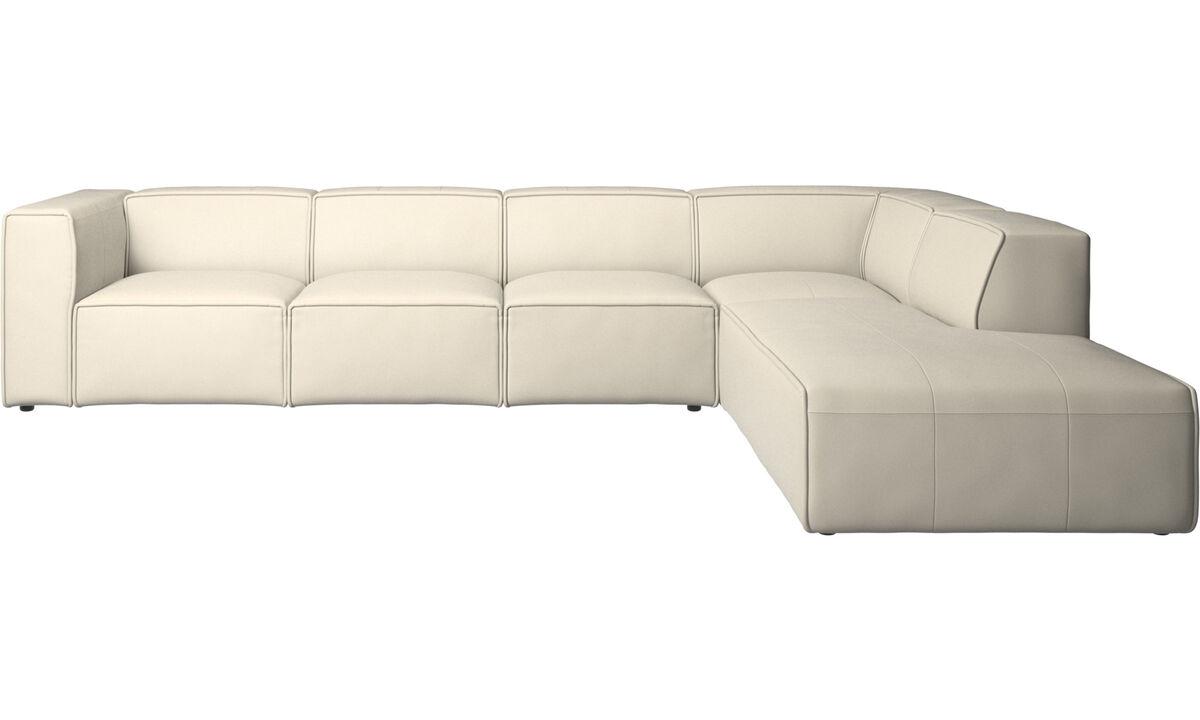 Modulaire zitbanken - Carmo hoekbank met relaxelement - Wit - Leder