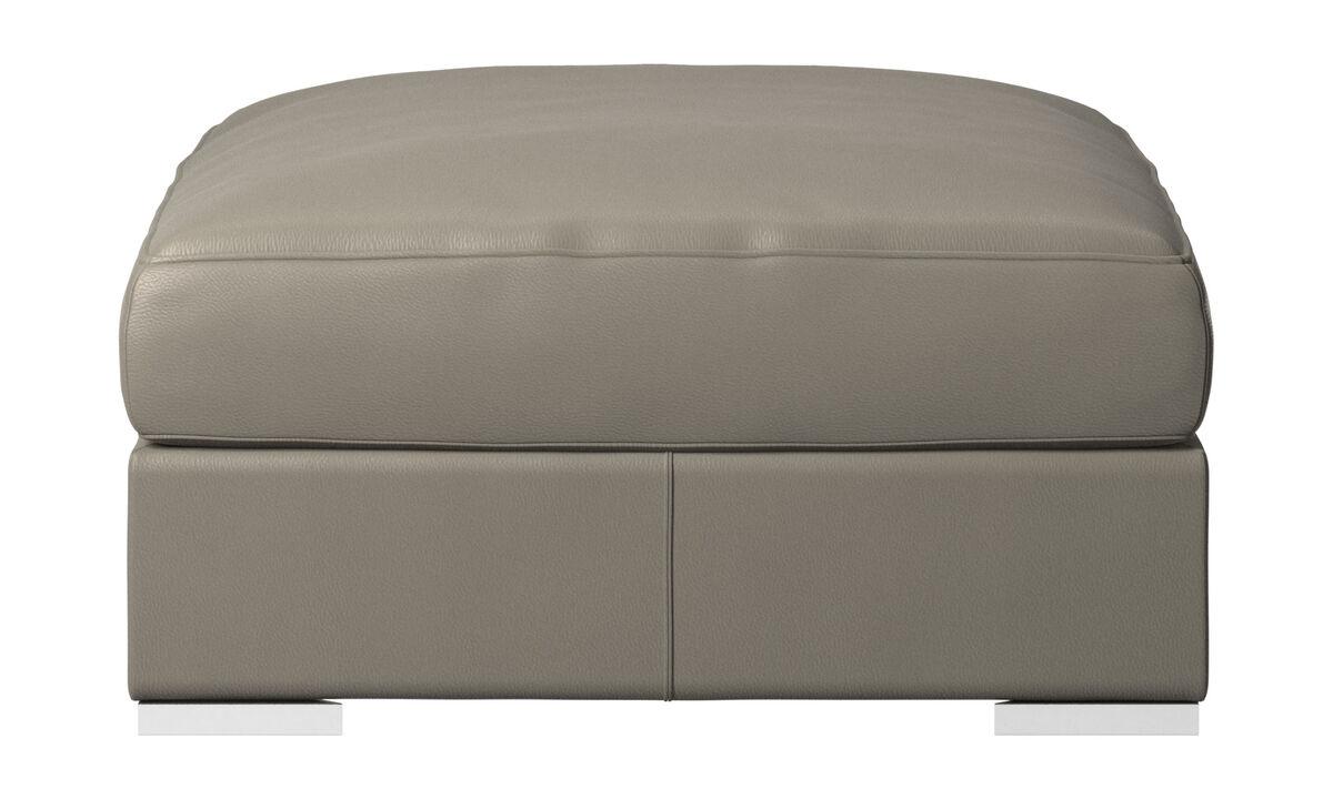 Footstools - Cenova footstool - Grey - Leather