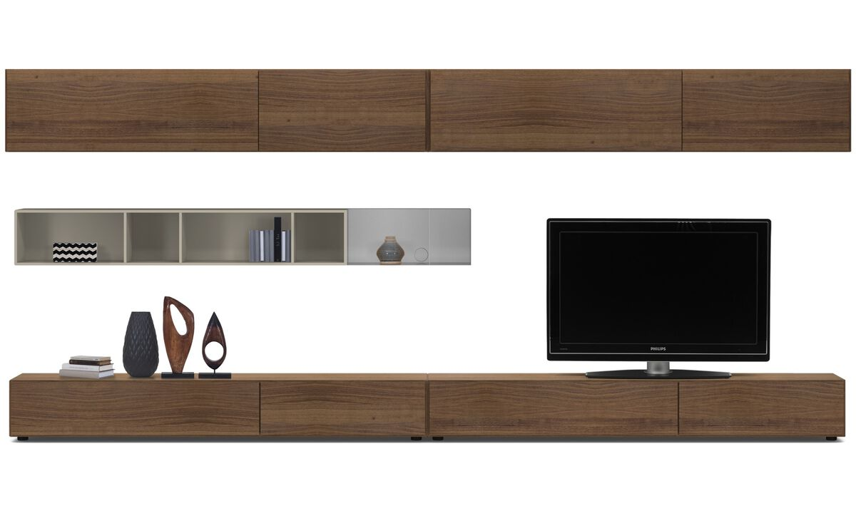 Wall systems - Lugano wall system with drawers, drop-down and flip-up doors - Brown - Walnut