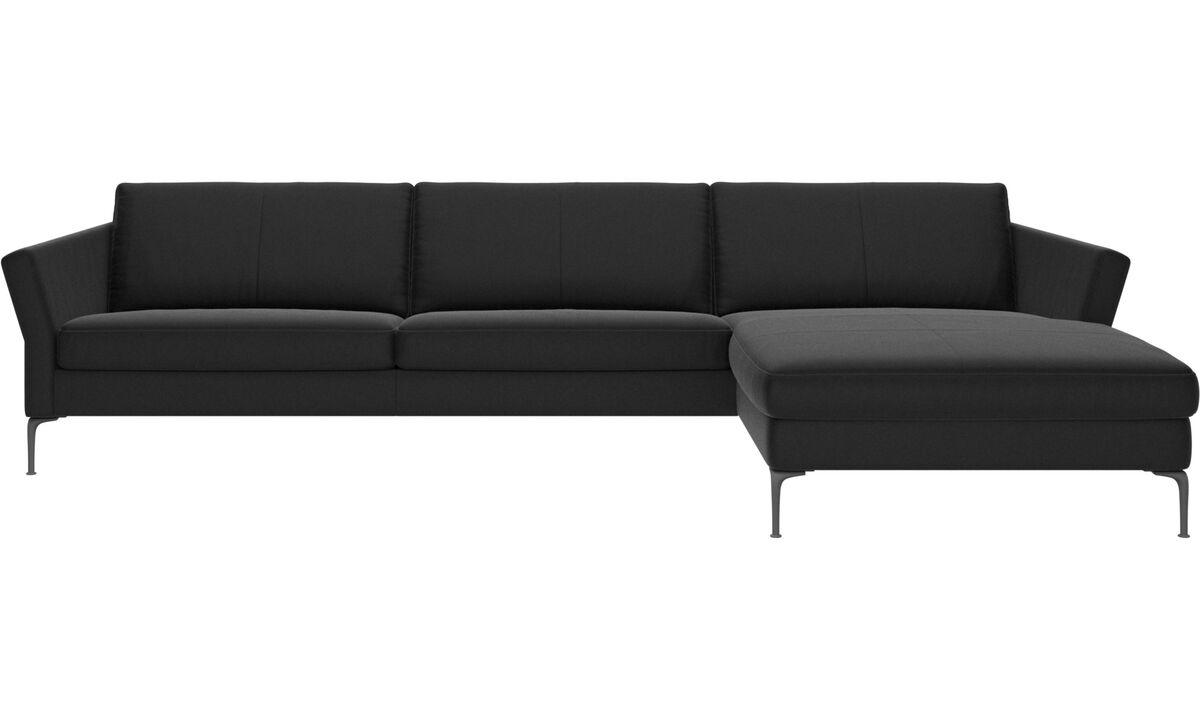 Sofás con chaise longue - sofá Marseille con módulo chaise-longue - En negro - Piel