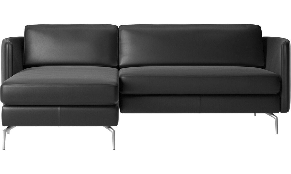 Chaise lounge sofas - Osaka sofa with resting unit, regular seat - Black - Leather
