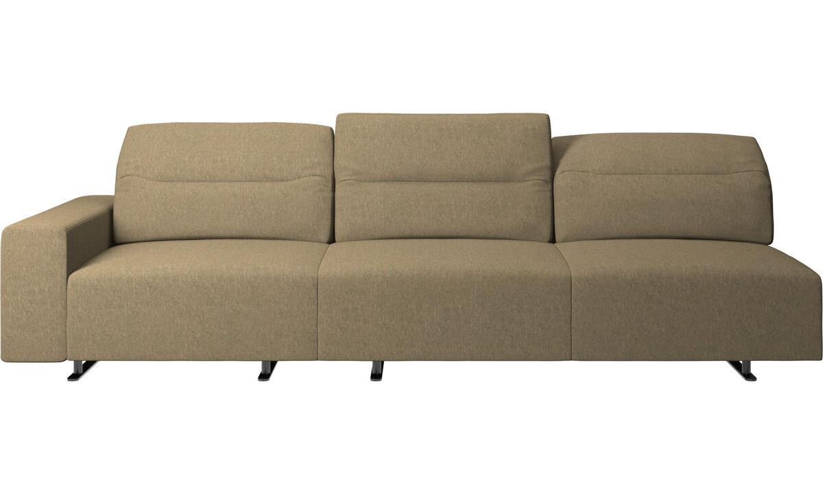 Sofás de 3 plazas - Sofá Hampton con respaldo ajustable - En verde - Tela