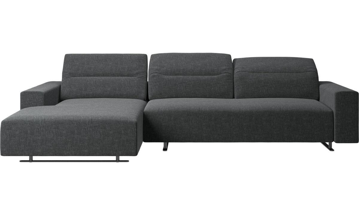 Canapés avec chaise longue - Canapé Hampton avec dossier ajustable, méridienne et espace de rangement côté gauche - Gris - Tissu