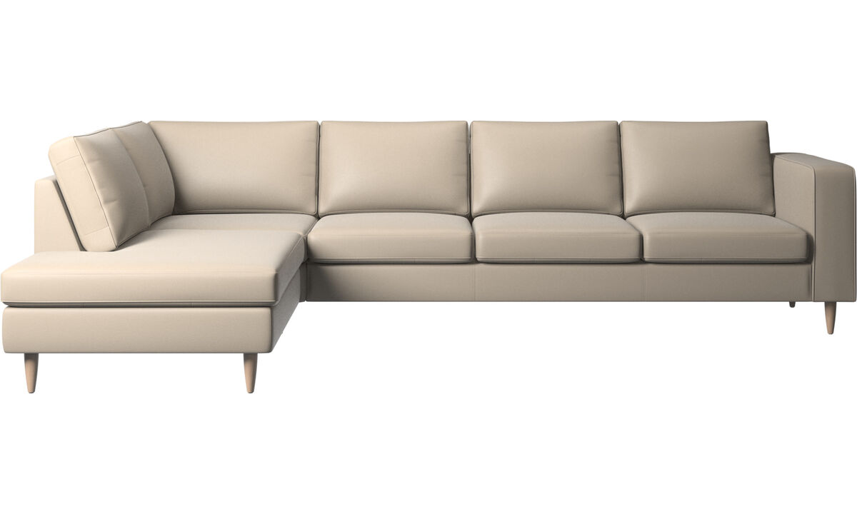 Sofas with open end - Indivi corner sofa with lounging unit - Beige - Leather