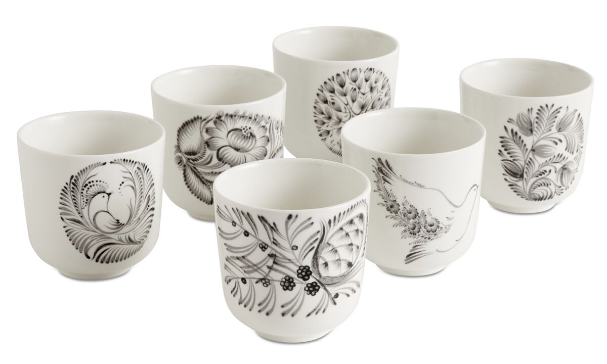Dinnerware - nora mugs with floral pattern - White - Ceramic