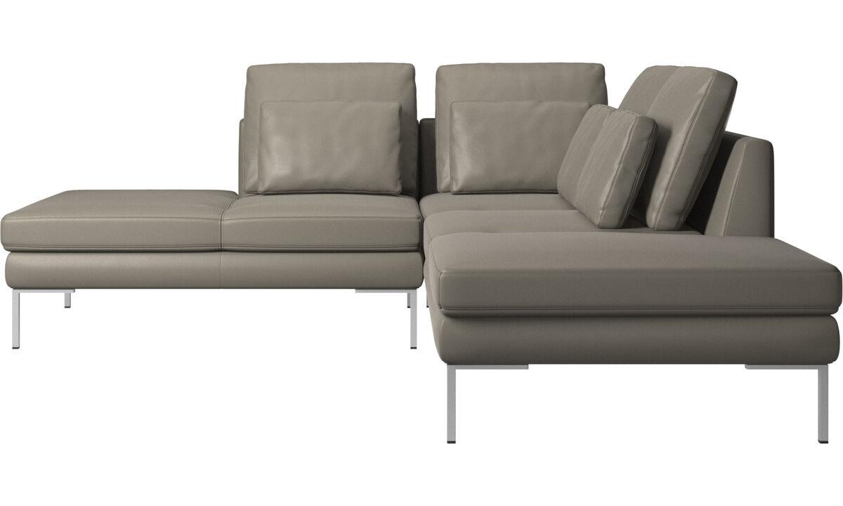 Sofás con lado abierto - Sofá Istra 2 con módulo de descanso - En gris - Piel