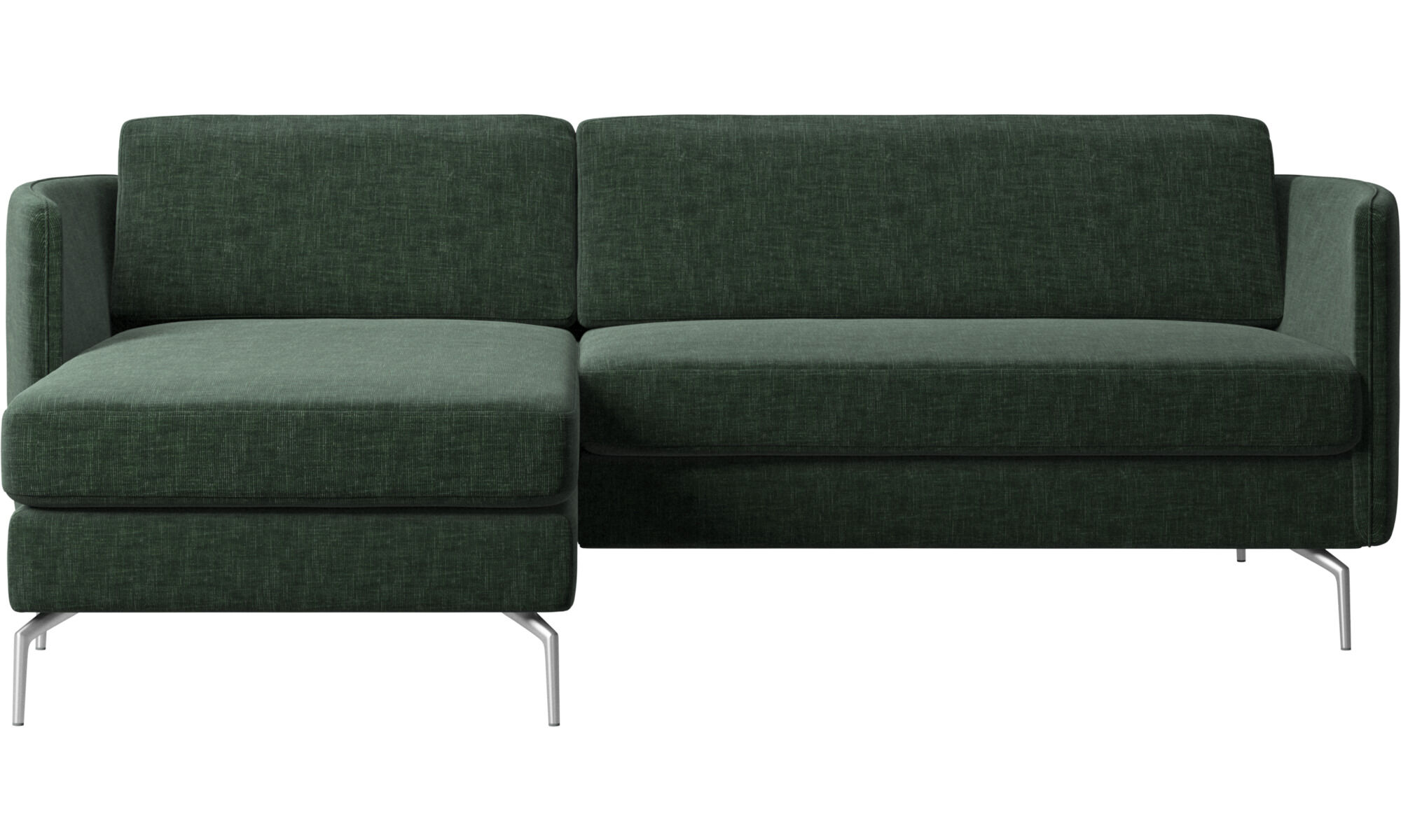 Chaise Longue Sofas   Osaka Sofa With Resting Unit, Regular Seat   Green    Fabric