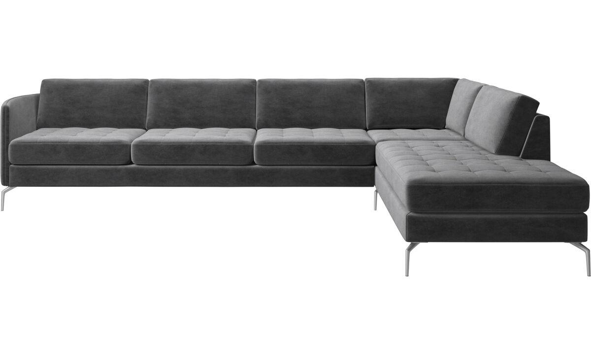 Corner sofas - Osaka corner sofa with lounging unit, tufted seat - Grey - Fabric