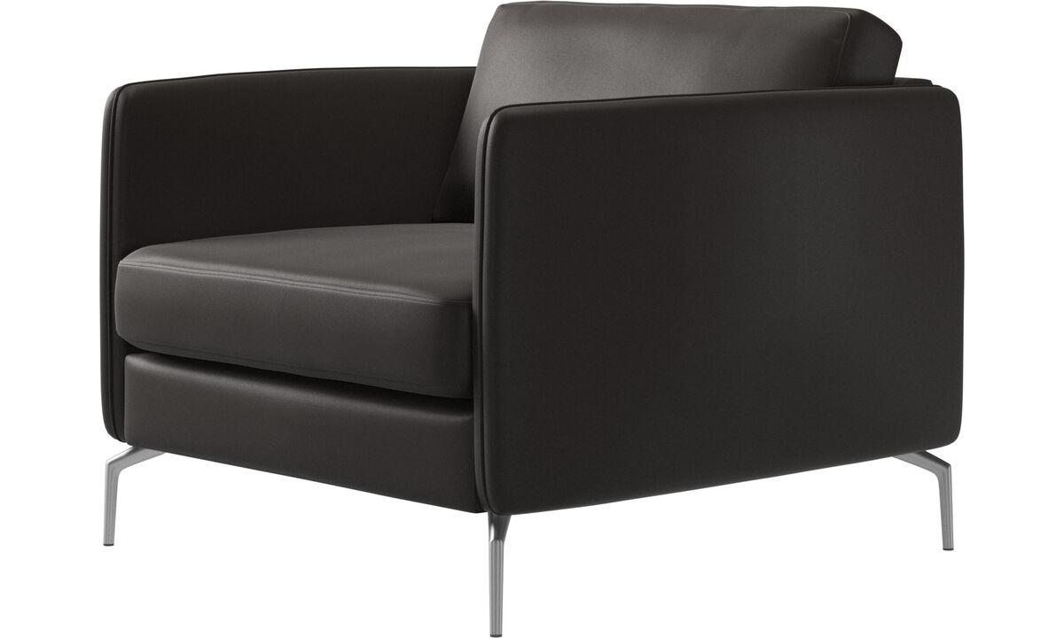 Armchairs - Osaka chair, regular seat - Brown - Leather