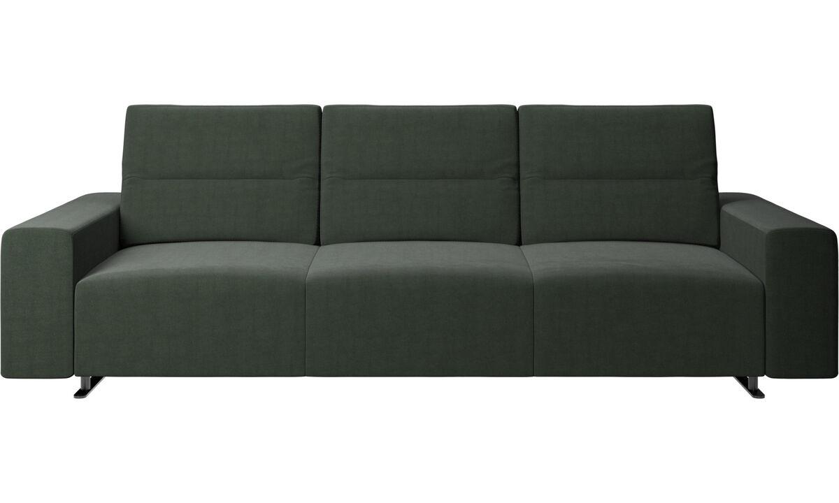 Canapés 3 places - Canapé Hampton avec dossier ajustable - Vert - Tissu