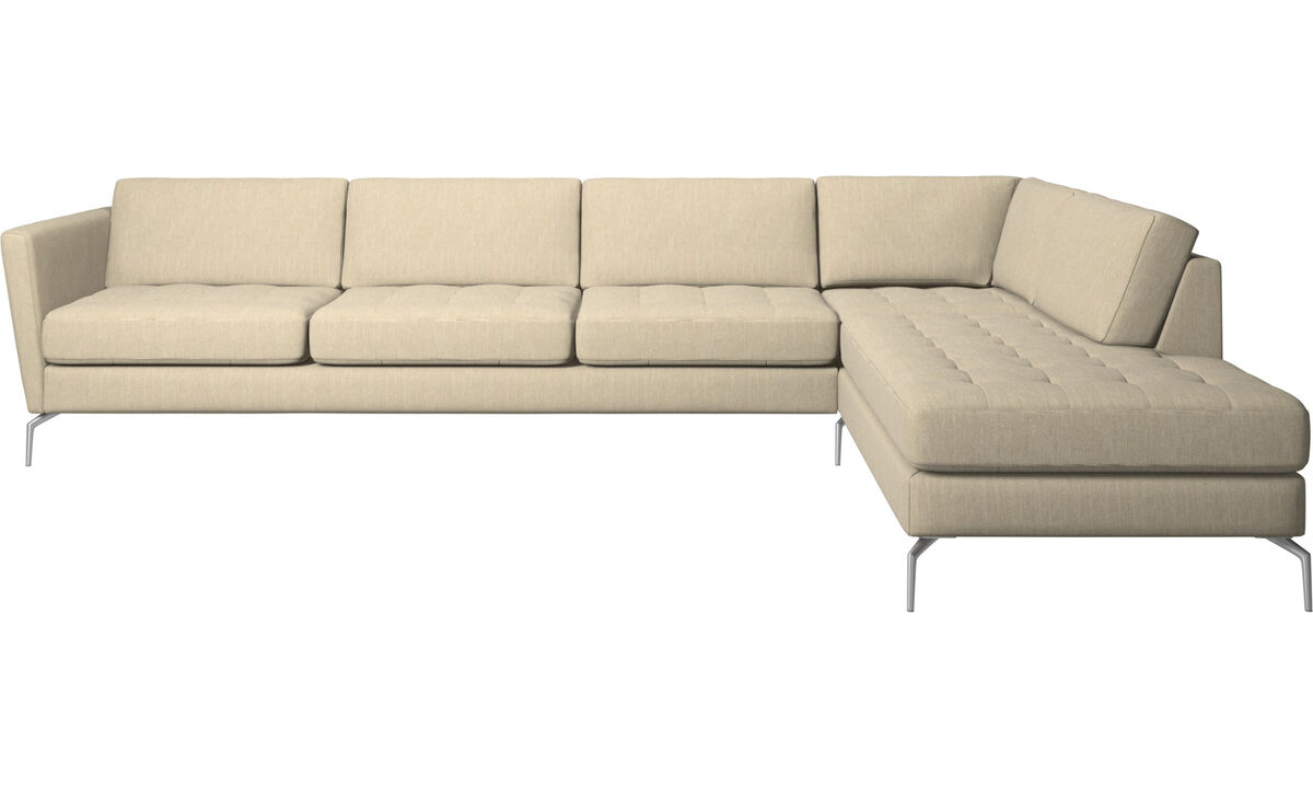 Corner sofas - Osaka corner sofa with lounging unit, tufted seat - Brown - Fabric