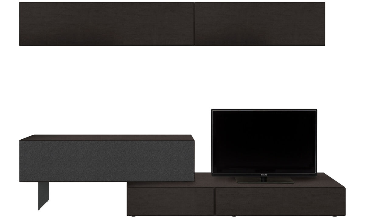 Wall systems - Lugano wall system with drawer and drop down door - Black - Oak