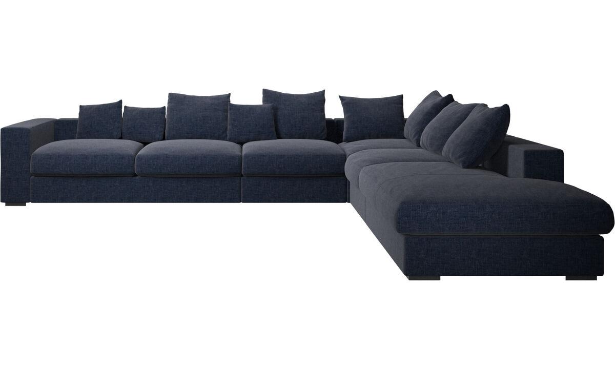 Navy Blue Napoli - Cenova corner sofa with lounging unit - Blue - Fabric