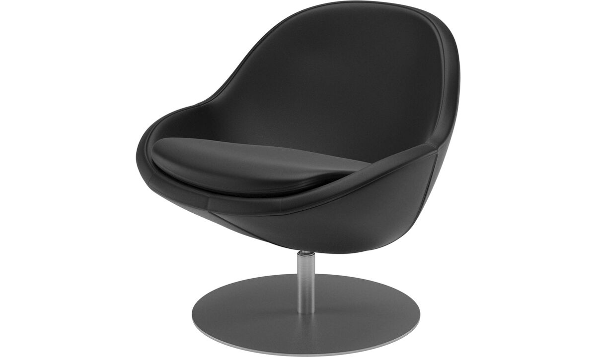 Armchairs - Veneto chair with swivel function - Black - Leather