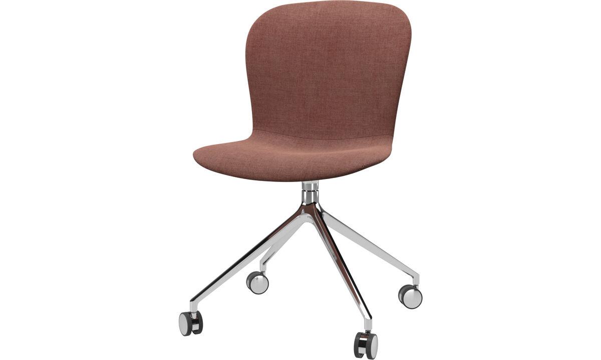 Cadeiras de jantar - Cadeira Adelaide giratória com rodas - Vermelho - Tecido