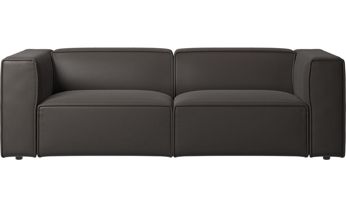 Sofás reclinables - Sofá Carmo con movimiento - En marrón - Piel