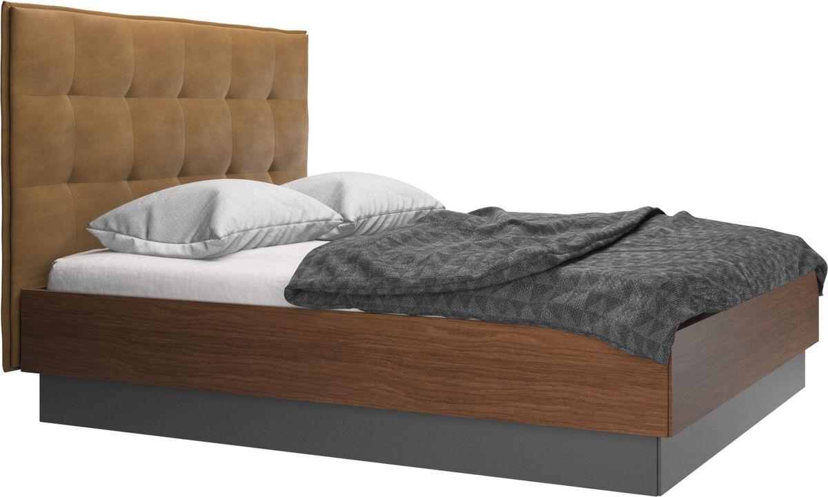 Camas - cama con canapé Lugano, estructura elevable y tablado, no incluye colchón - En marrón - Piel