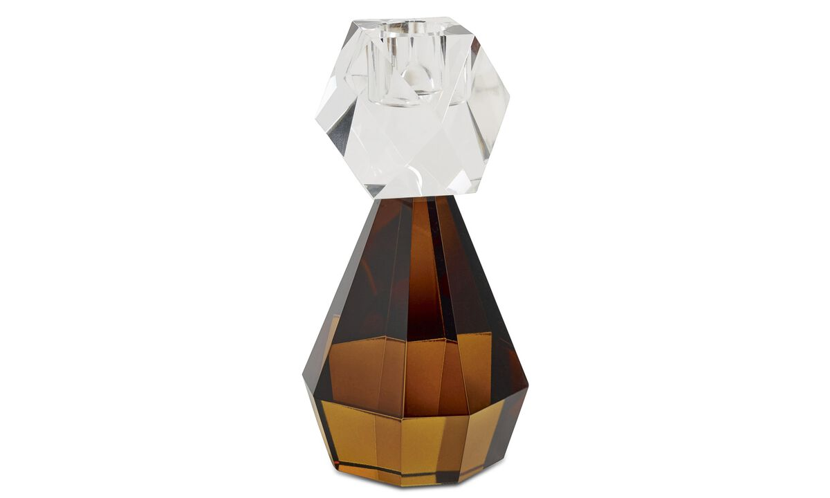 Candleholders - Diamond candlestick - Orange - Glass