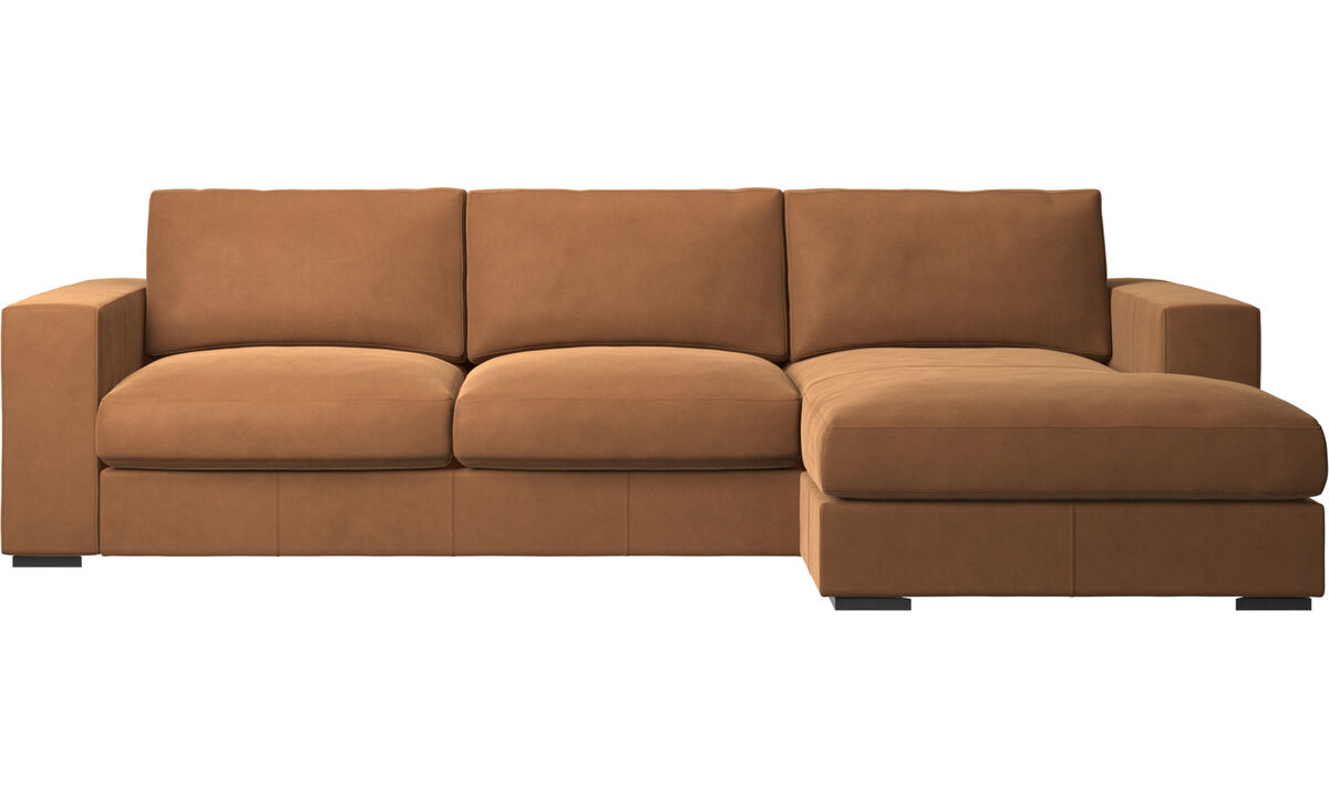 Sofas mit Récamiere - Cenova Sofa mit Ruhemodul - Braun - Leder