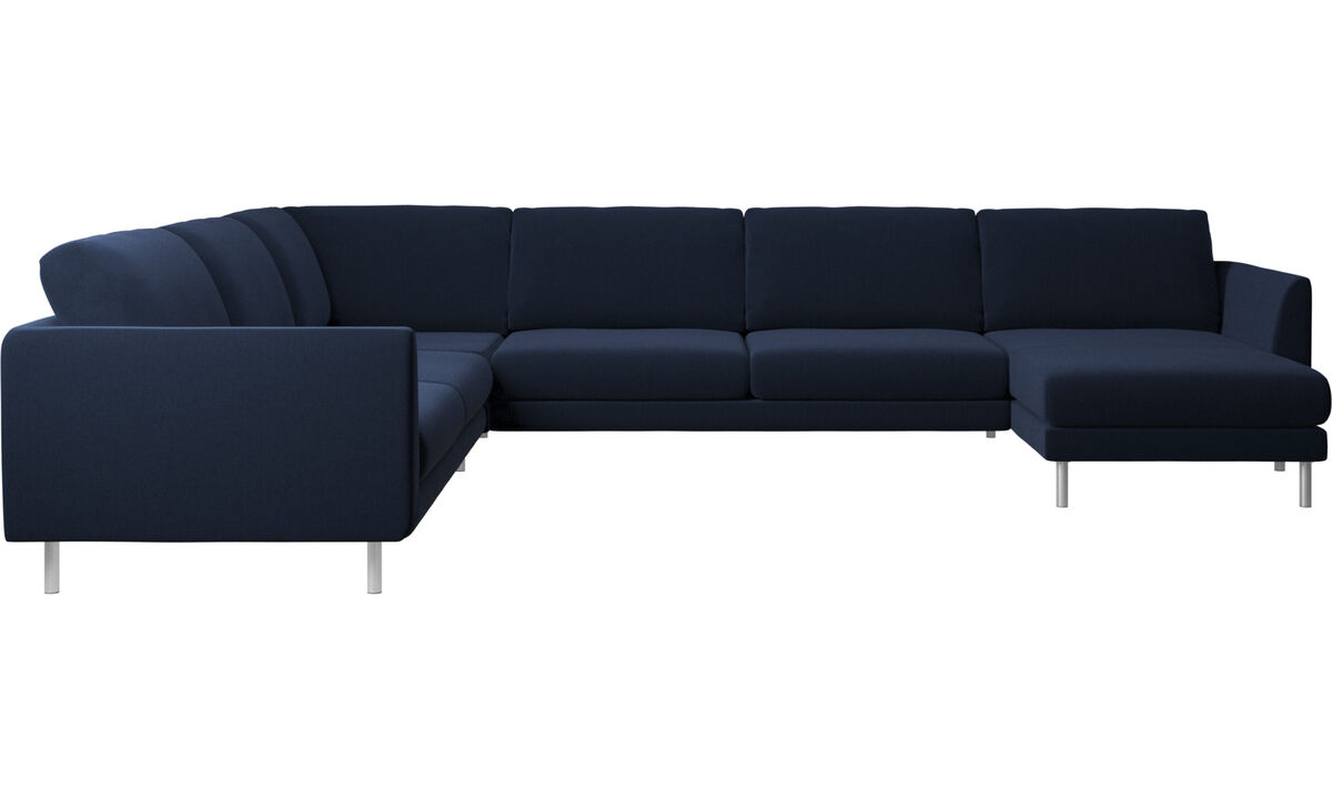 转角沙发 - Fargo 带倚靠单元的转角沙发 - 蓝色 - Fabric