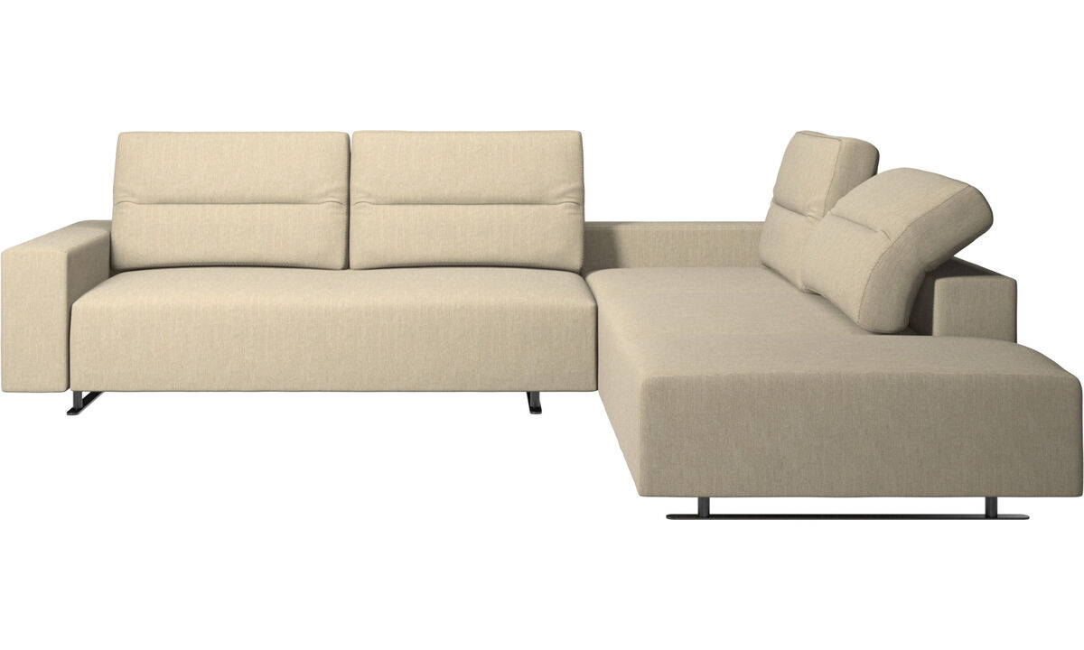Corner sofas - Hampton corner sofa with adjustable back and storage on left side - Brown - Fabric