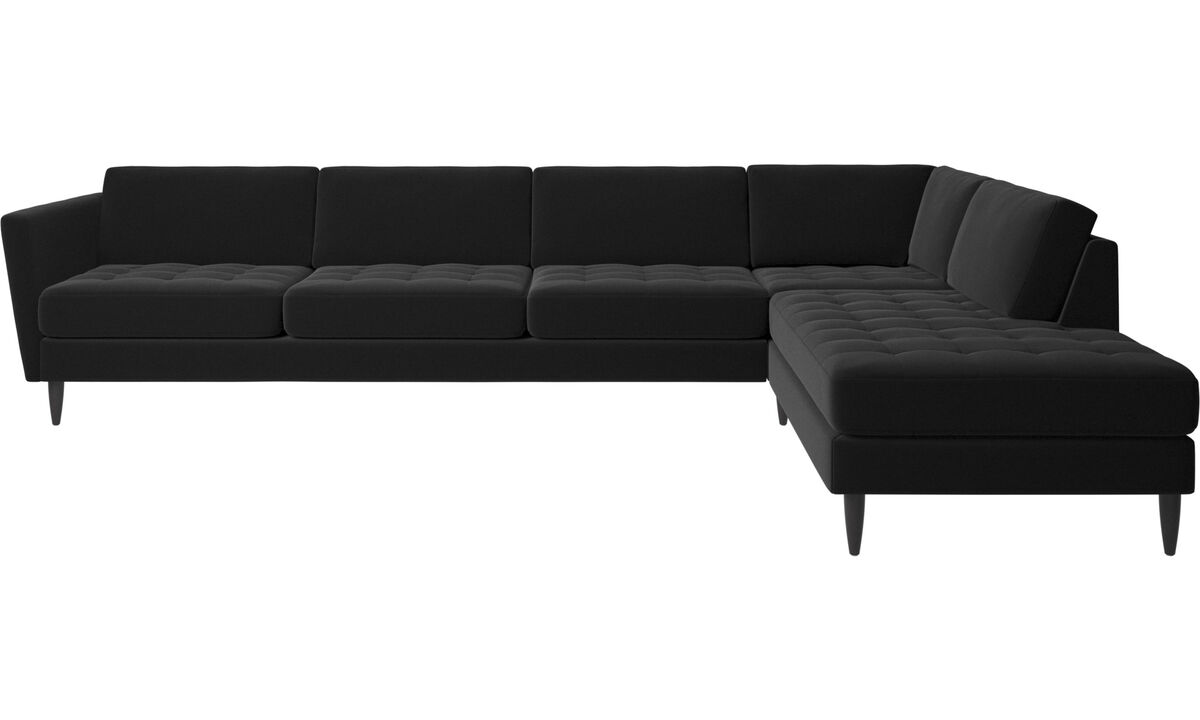 Corner sofas - Osaka corner sofa with lounging unit, tufted seat - Black - Fabric
