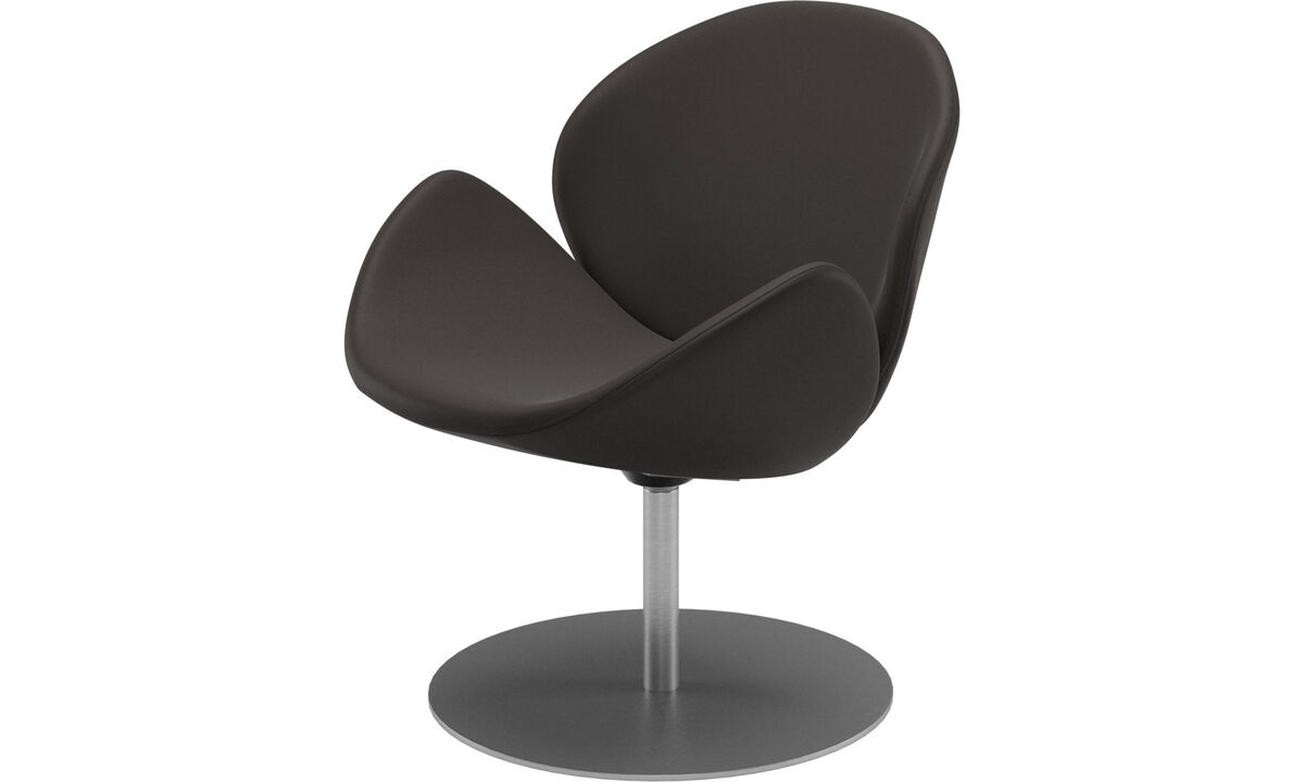 Armchairs - Ogi chair with swivel function - Brown - Leather