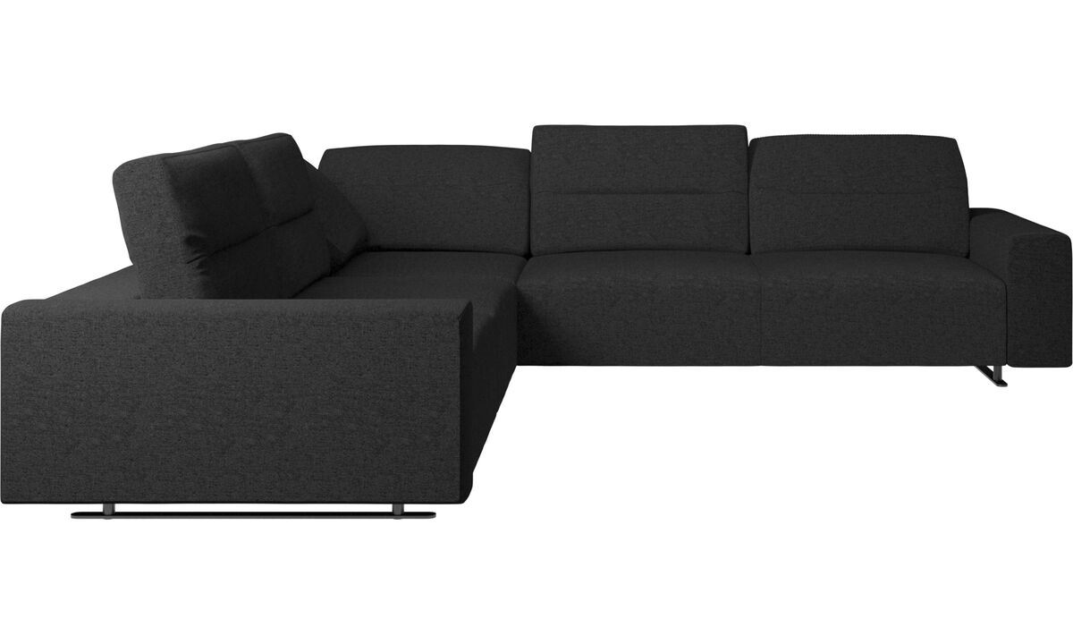 New designs - Hampton corner sofa with adjustable back - Grey - Fabric