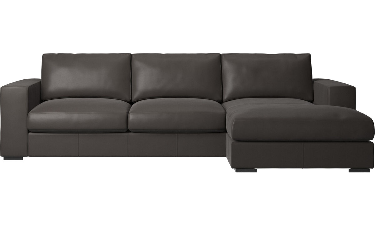 Chaise longue sofas - Cenova sofa with resting unit - Brown - Leather