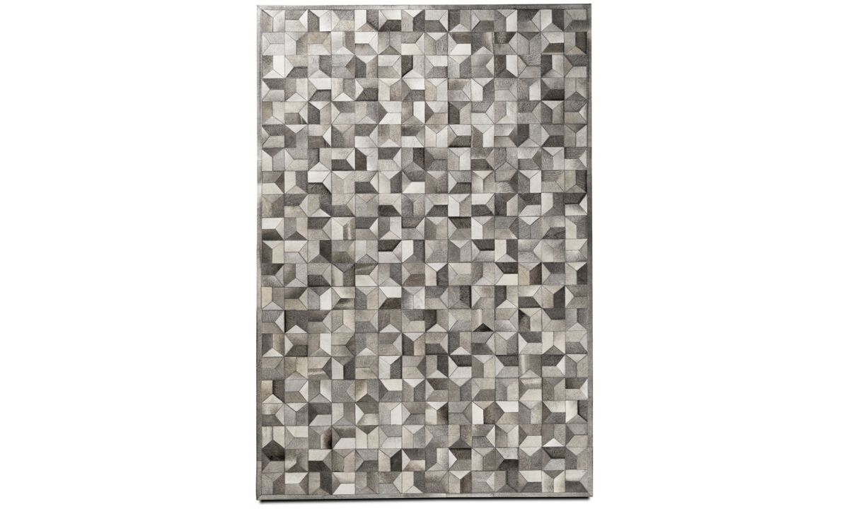 Leather rugs - Quarter rug - rectangular - Grey - Leather