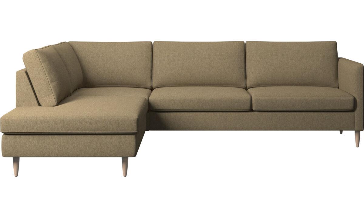 Banken met lounge element - Indivi hoekbank met relaxelement - Groen - Stof