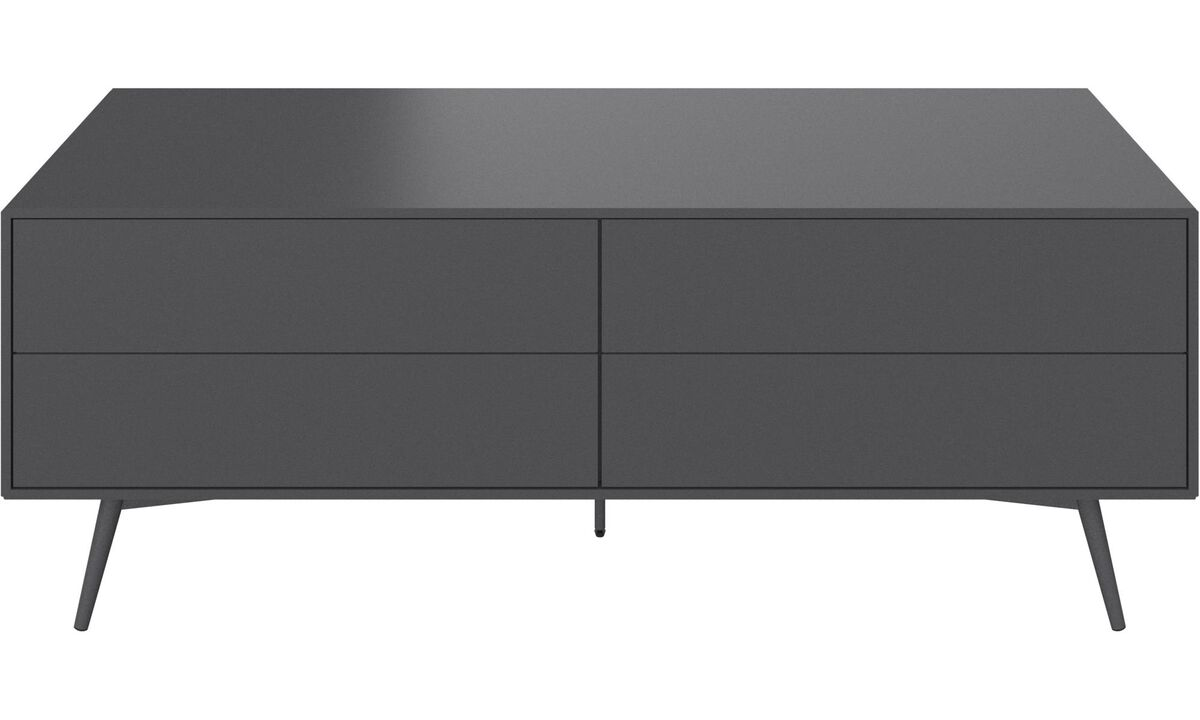 Tv units - Fermo media unit with drop-down doors - Gray - Lacquered