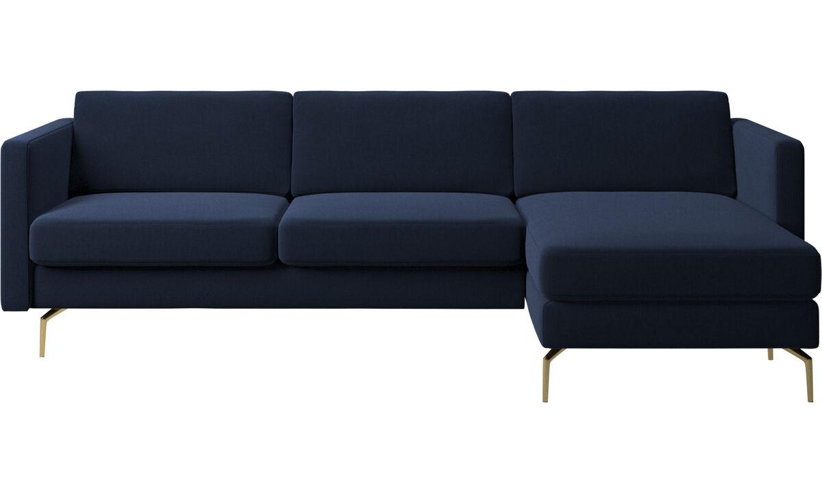 Sofás con chaise longue - sofá Osaka con módulo chaise-longue, asiento regular - En azul - Tela