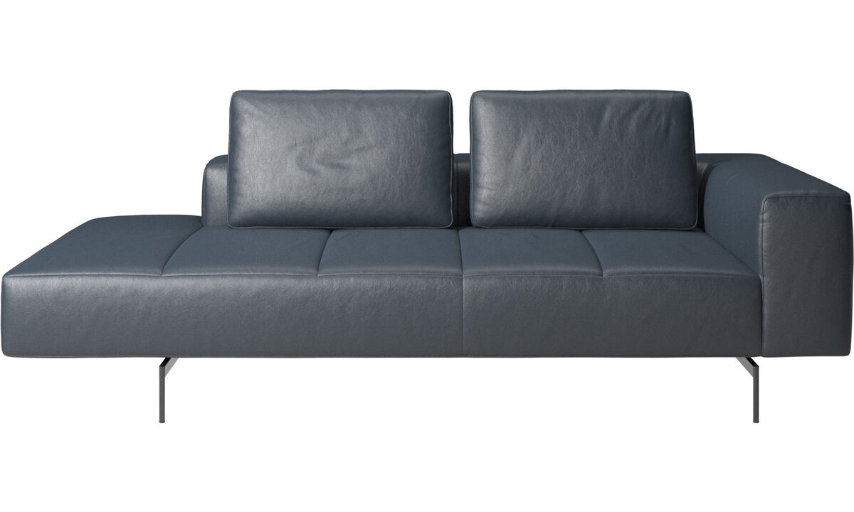 Chaise longue sofas - Amsterdam resting module for sofa, armrest right, open end left - Blue - Fabric