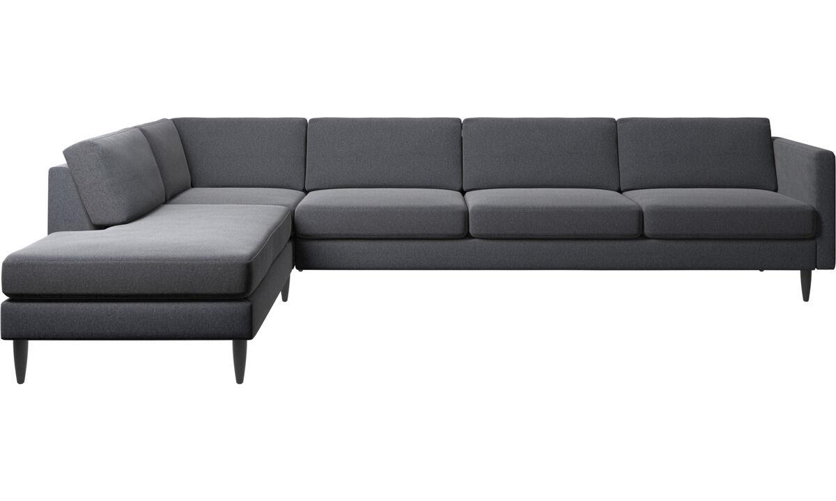Sofás con lado abierto - sofá esquinero Osaka con módulo de descanso, asiento regular - En gris - Tela