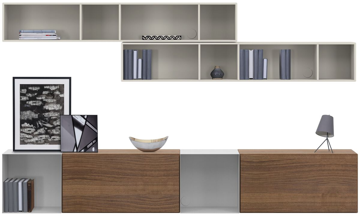 Wall systems - Lugano wall mounted wall system with drawers - Brown - Walnut