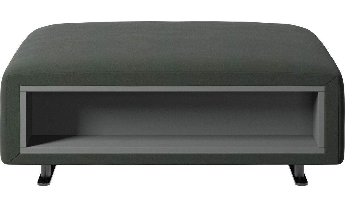Apoio de pés - Puff Hampton com armazenamento nas laterais - Verde - Tecido