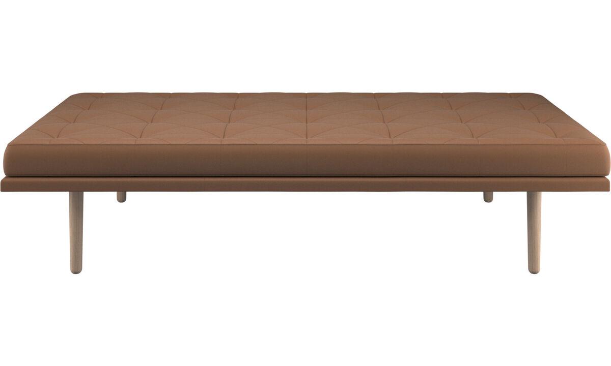 Divanes - sofá-cama fusion - En marrón - Piel