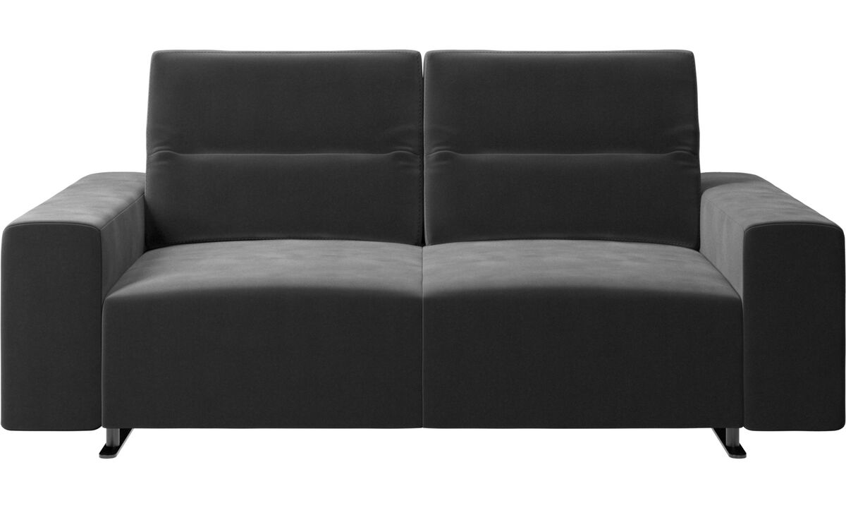 2 seater sofas - Hampton sofa with adjustable back and storage on the right side - Black - Fabric