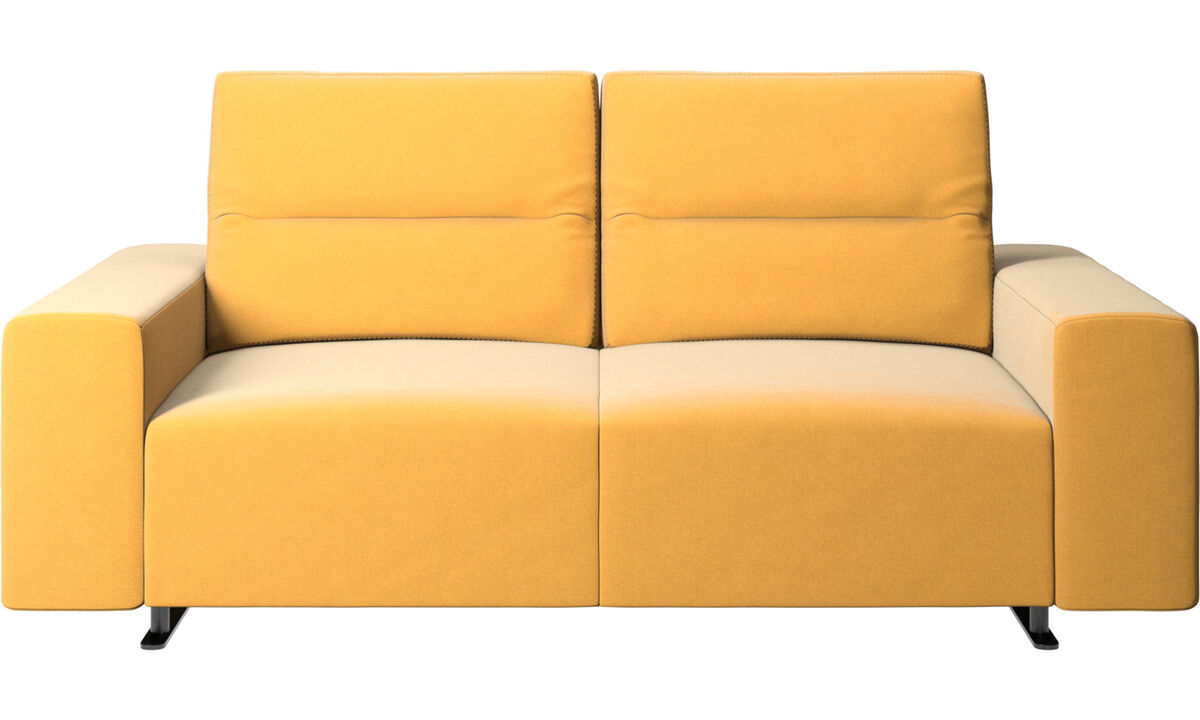 2 seater sofas - Hampton sofa with adjustable back and storage on the right side - Yellow - Fabric