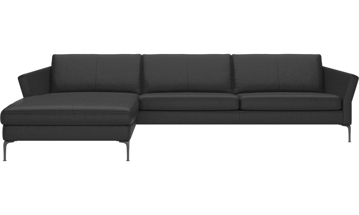 Chaise lounge sofas - Marseille sofa with resting unit - Black - Leather