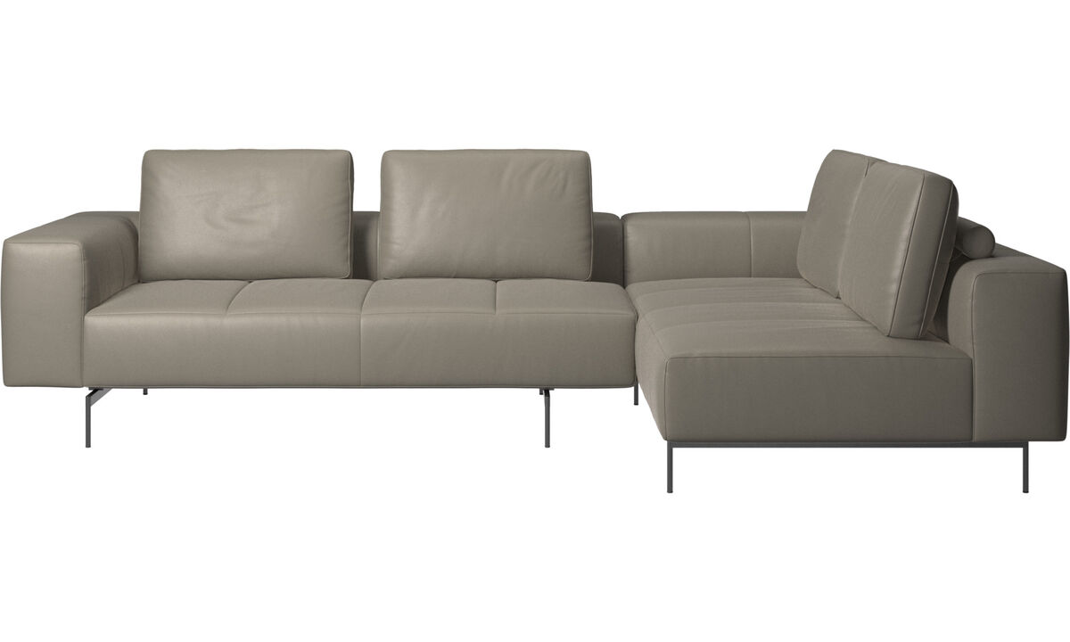 Corner sofas - Amsterdam corner sofa with lounging unit - Grey - Leather