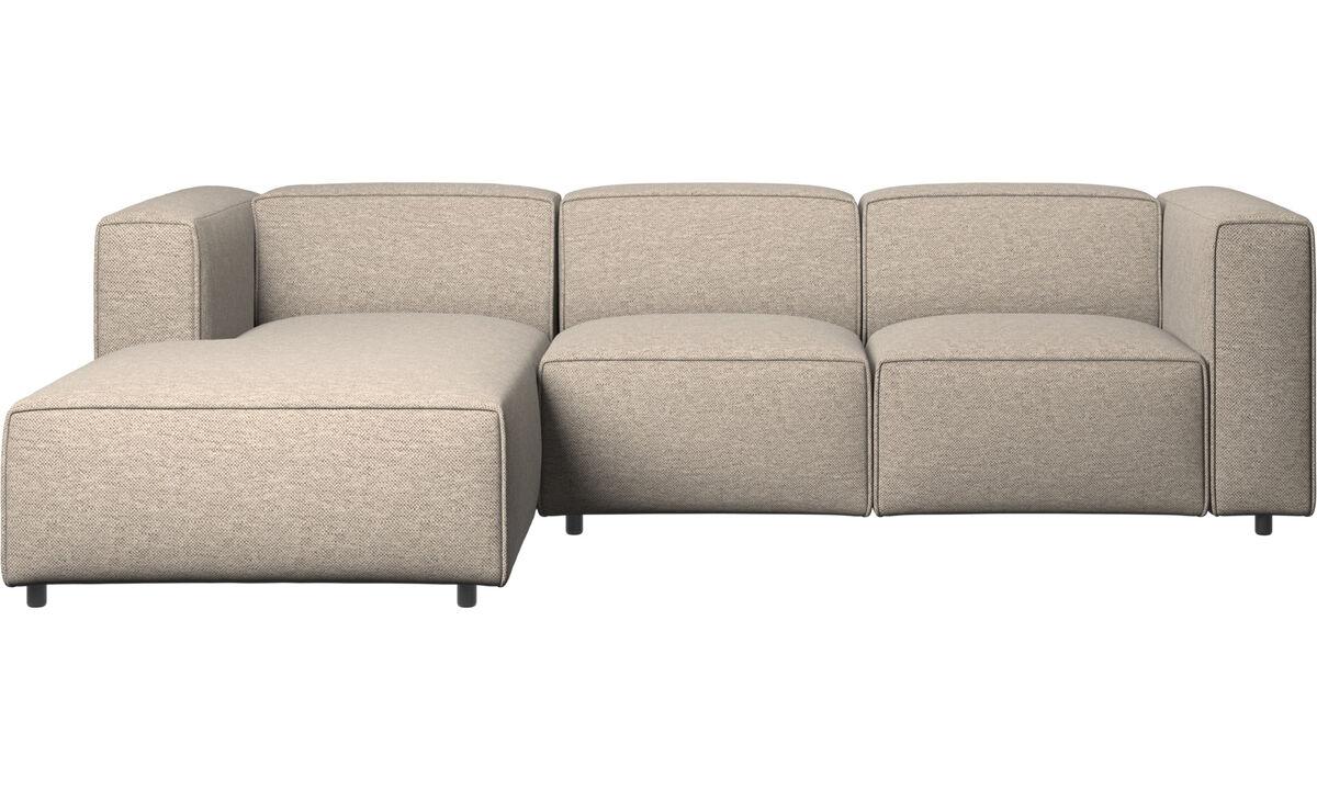 Sofás reclinables - Sofá Carmo con movimiento y módulo de descanso - En beige - Tela