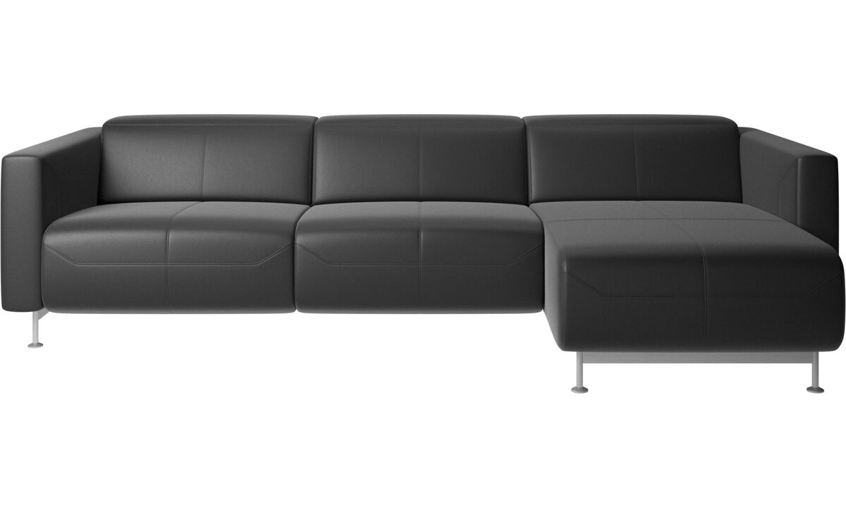 Chaise longue sofas - Parma reclining sofa with chaise lounge - Black - Leather