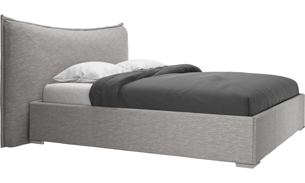 Beds - Gent storage bed with lift-up frame and slats, excl. mattress - Grey - Fabric